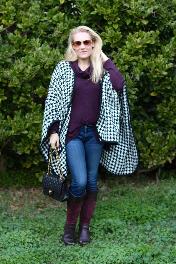 outfit inspiration-chanel handbag-kate spade-winter style-houndstooth ponch