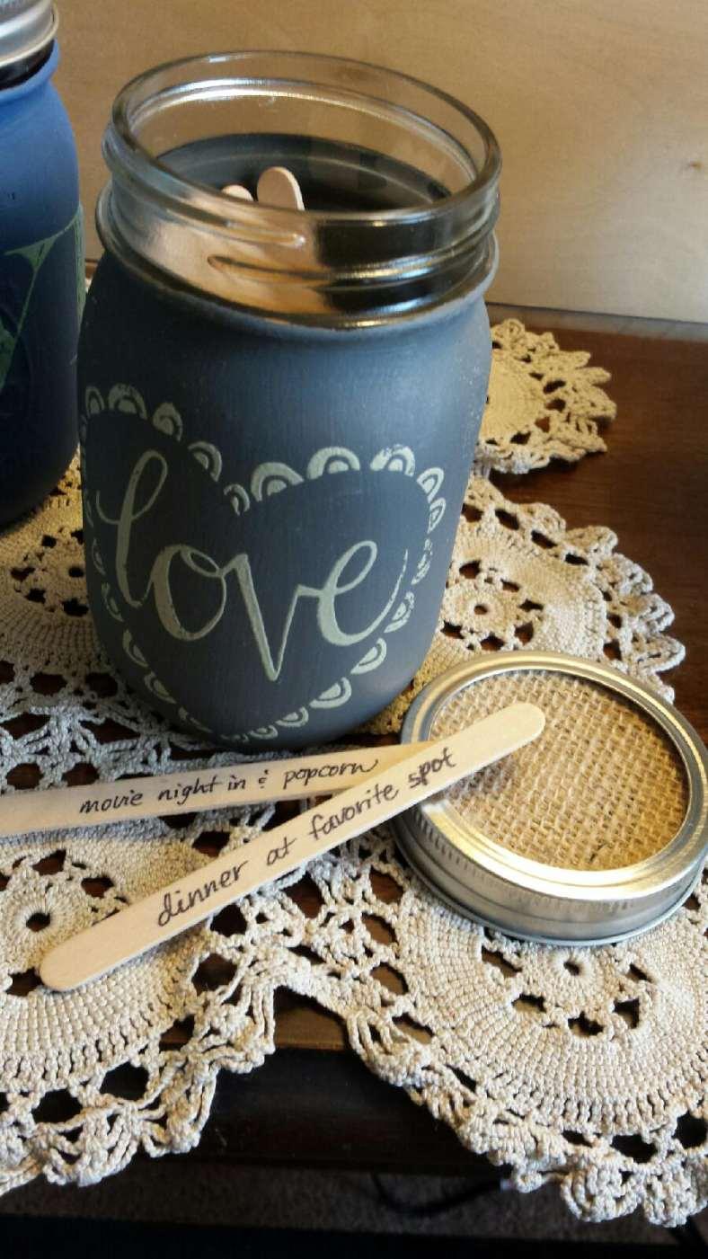 love mason jar with sticks and lid