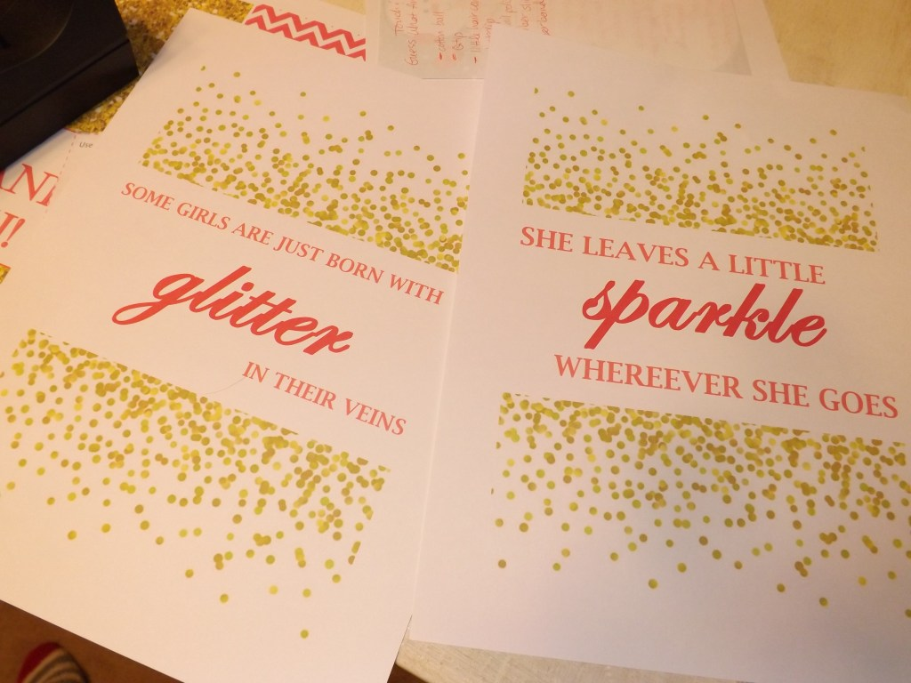 glitter and sparkle signs