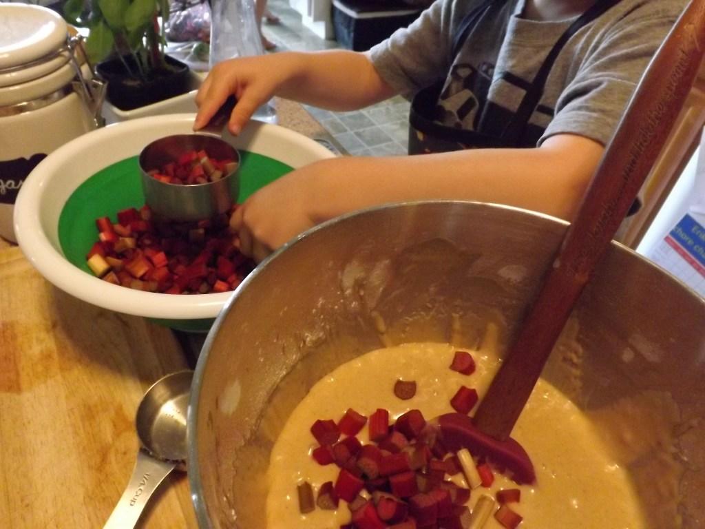 mix in rhubarb