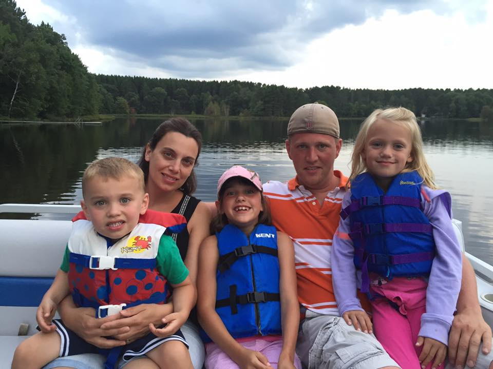 family at cabin