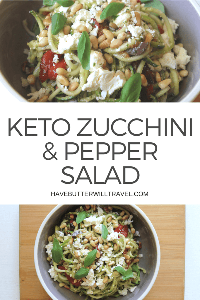 This salad is an change from the plain zucchini noodles. The Mediterranean flavours work really well as a side dish to some grilled fish or grilled chicken. Keto roasted capsicum and zucchini salad is an excellent option to take to a BBQ or family get together.