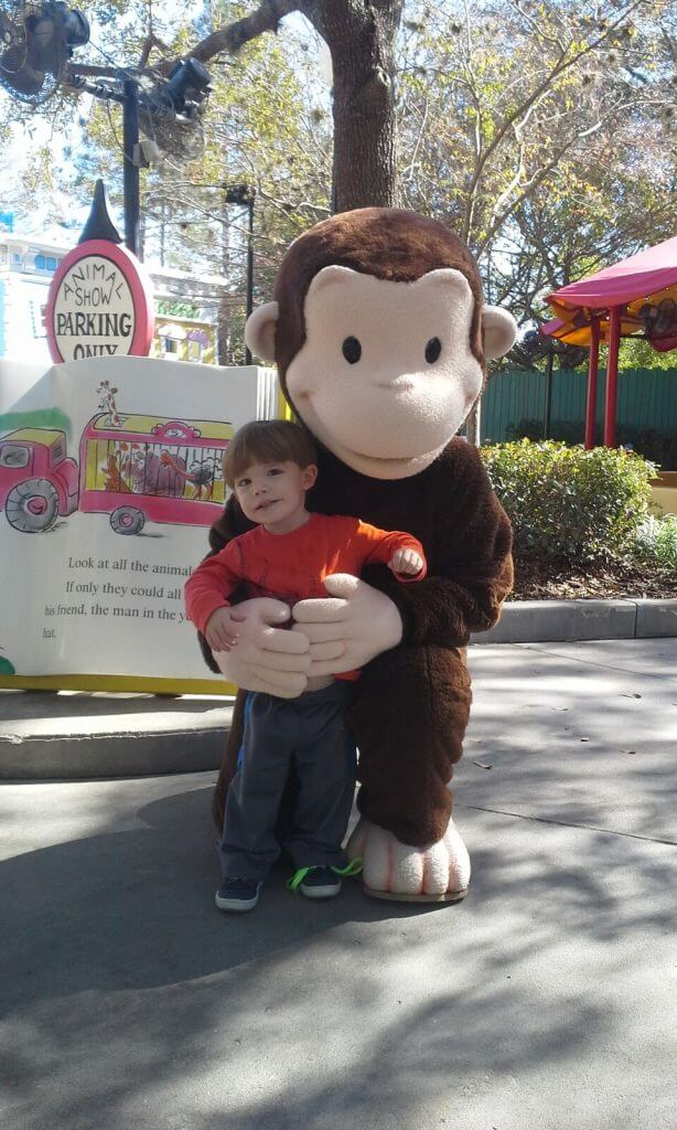 Curious George at Universal Studios Orlando with a toddler