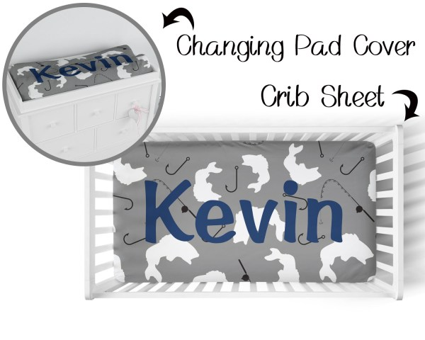 Fish on Gray Crib Sheet & Changing Pad Cover