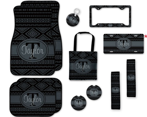 Black & Gray Aztec Car Accessories