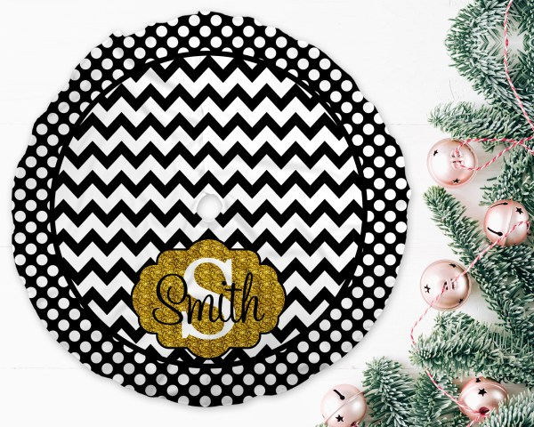 Chevron & Dots Black & Gold Trim Christmas Tree Skirt