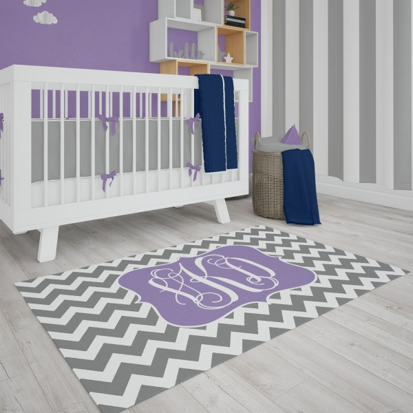 Chevron Gray & Purple Area Rug