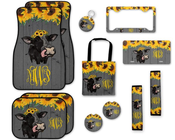 Sunflowers Cow on Wood Car Accessories