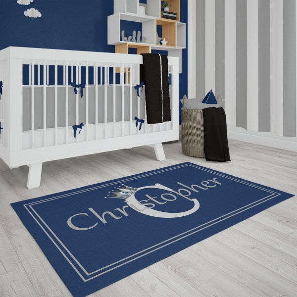 Silver Crown on Navy Area Rug