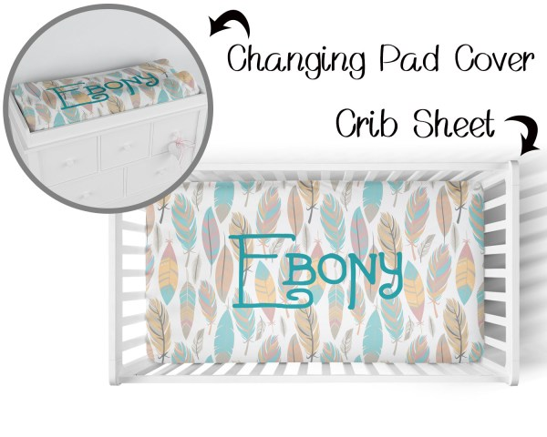 Feathers Crib Sheet & Changing Pad Cover