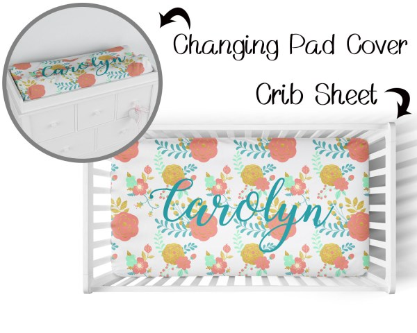 Floral Coral & Gold Crib Sheet & Changing Pad Cover