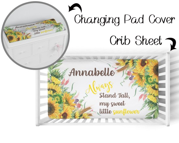 Sunflower Crib Sheet & Changing Pad Cover