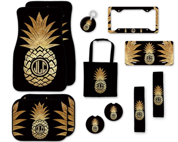 Pineapple Black & Gold Car Accessories