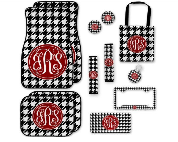 Houndstooth with Crimson Car Accessories