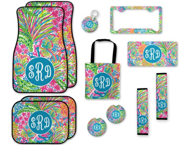 Lilly Pulitzer Inspired Coral Car Accessories