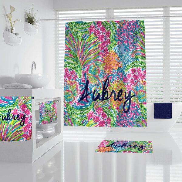 Lilly Inspired Coral Bathroom Accessories