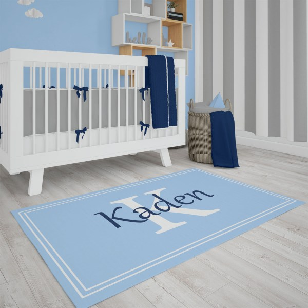 Blue Framed Area Rug