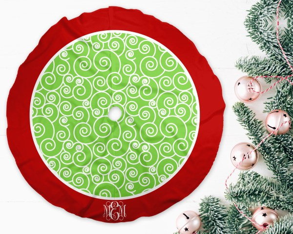 Swirls Red & Green Christmas Tree Skirt