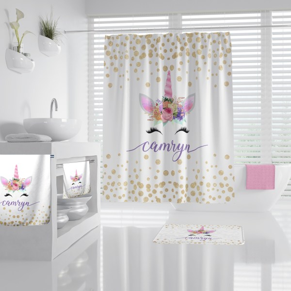 Unicorn Face Pink on White Bathroom Accessories