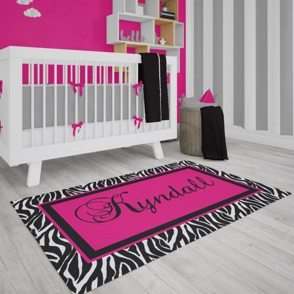 Zebra Print in Pink Area Rug