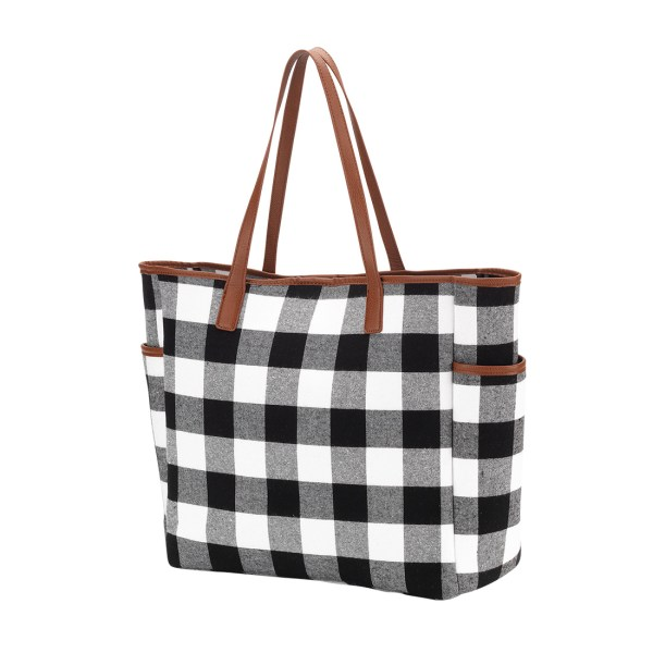 Black Buffalo Check Hayden Tote
