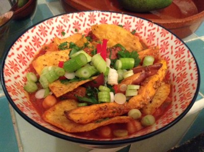 Mexican Soup with Smashed Up Sweet Potato Chips