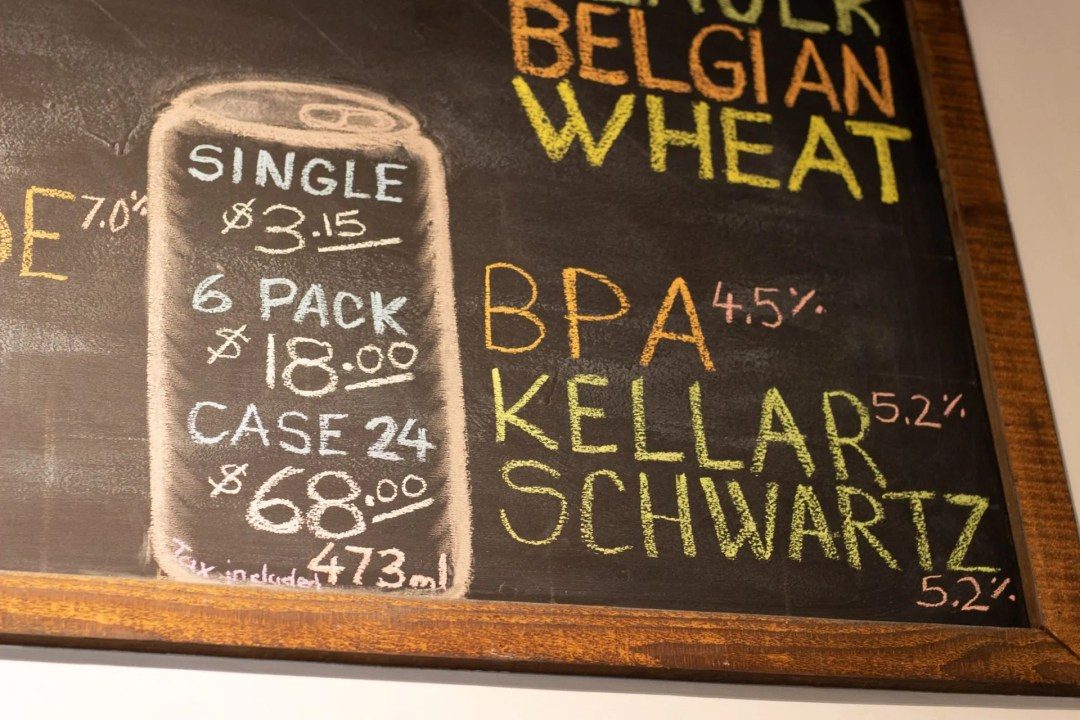 Closeup of chalkboard listing different beer prices