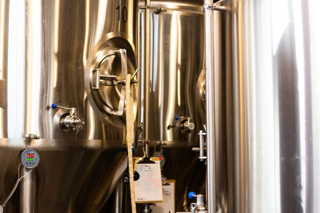 Photo of the silver beer tanks