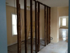 Under construction progress ~ kitchen demo of office/spare room wall