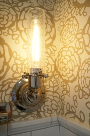 'After' first floor bath ~ wallpaper and light fixture closeup