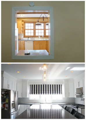 Kitchen before and after ~ old view from small window of spare room, now all open kitchen