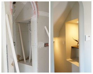 basement stair wall nook ~ during and after
