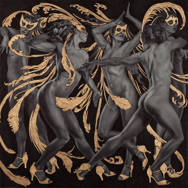 "Rebecca Yanovskaya, Paso Doble, 2k Gold Leaf & Ballpoint Pen, 6 x 6 inches, 14 x 14 inches framed, $775  |  Musical Inspiration: ""Paso Doble"""
