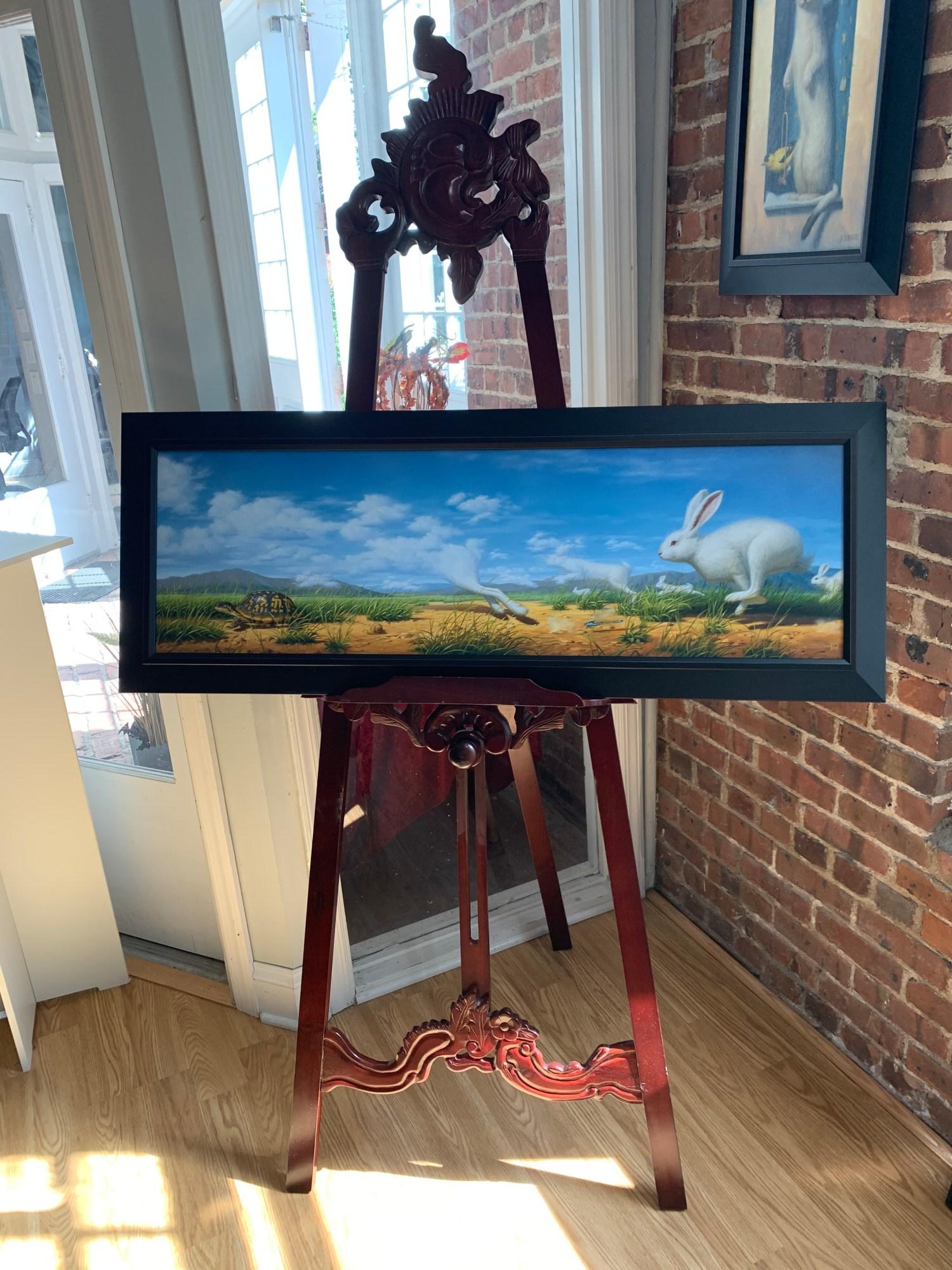 """Phillip Singer """"Tortoise And Hare"""" Framed Print"""