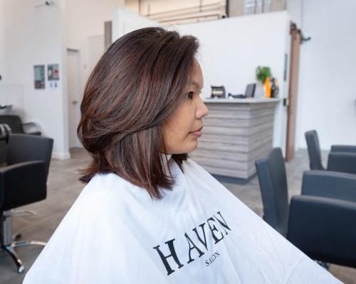Balayage and medium haircut