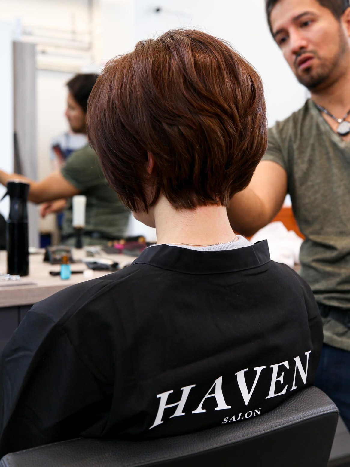 Haven Salon hair cutting services.