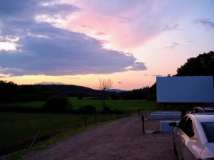 cotton-candy sunset at big sky drive-in