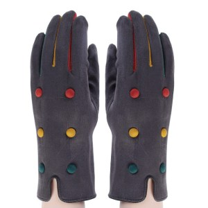 Grey tricoloured decorated button open-ended gloves