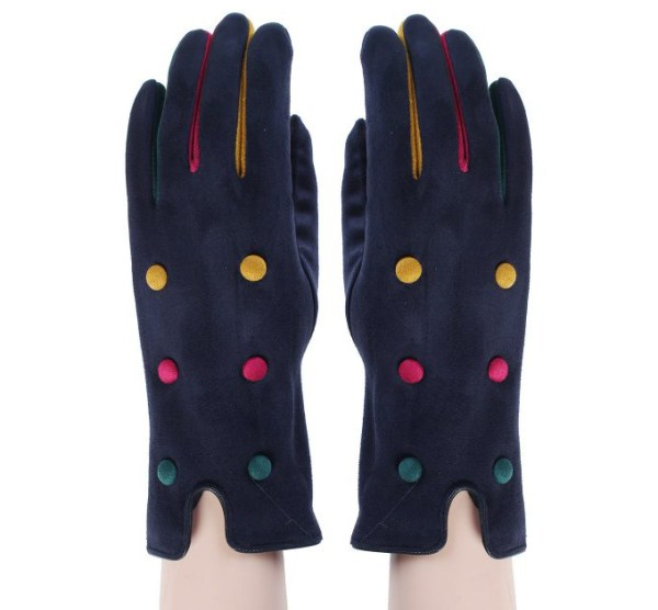 Navy tricoloured decorated button open-ended gloves