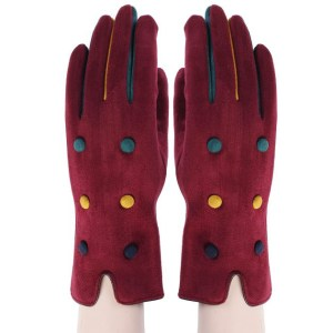 Wine tricoloured decorated button open-ended gloves
