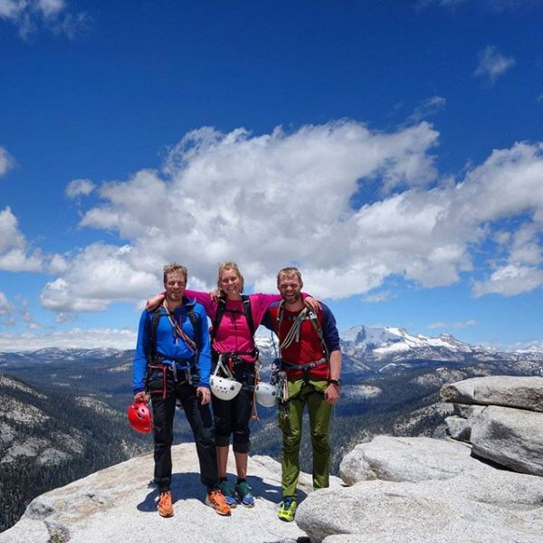 Climbed Snake Dike to reach the top of Half Dome with my brothers today. 8 rope pitches, 15 miles hike and first real mountain rock climb. Though, but fun to have my brothers on visit.