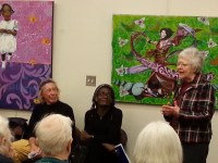playwright doris gwaltney at a play reading of a mirror in time