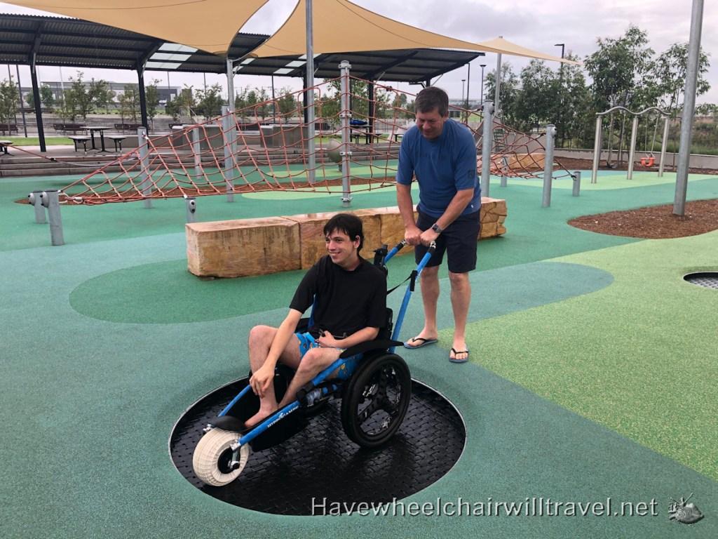 Dawson-Damer Water Park - accessible inground trampoline - Have Wheelchair Will Travel
