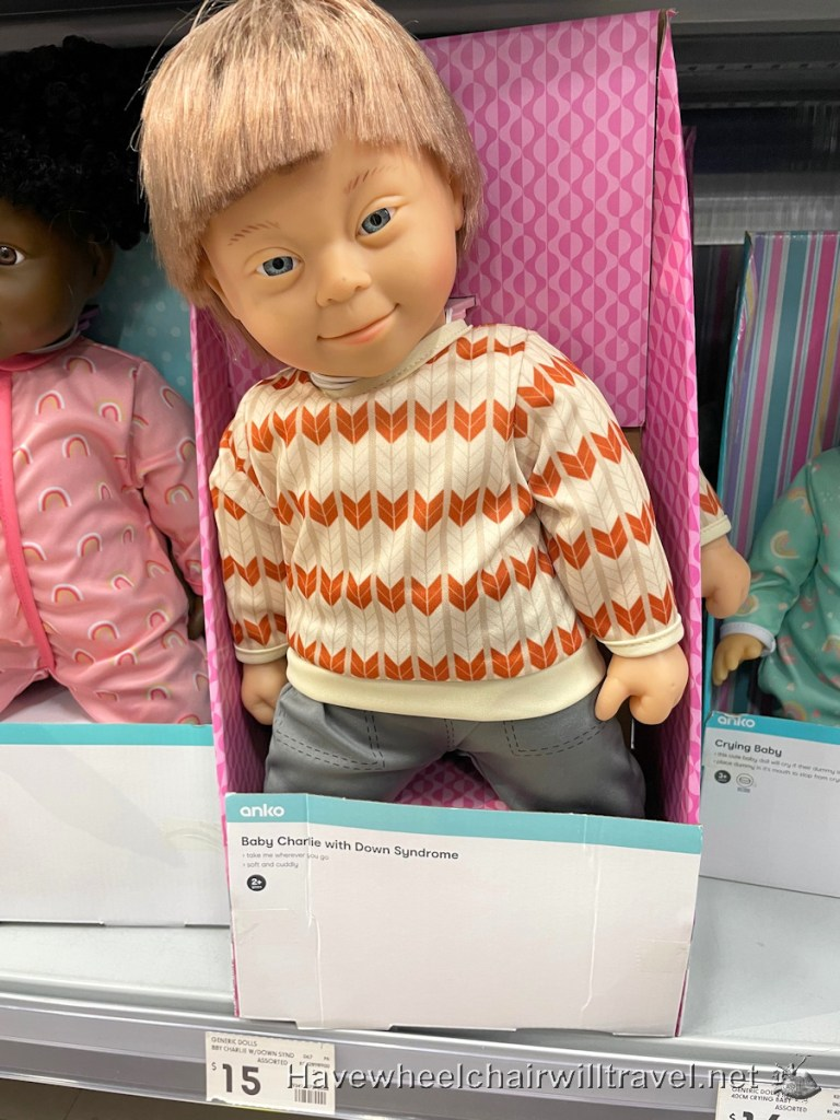 Kmart inclusive doll range with disabilities - Down Syndrome - Have Wheelchair Will Travel