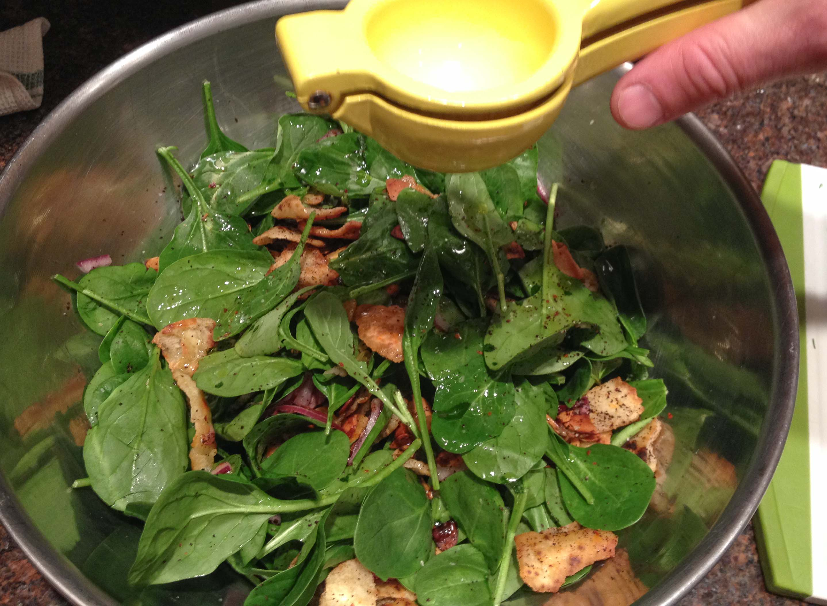 baby spinach date almond salad ottolenghi
