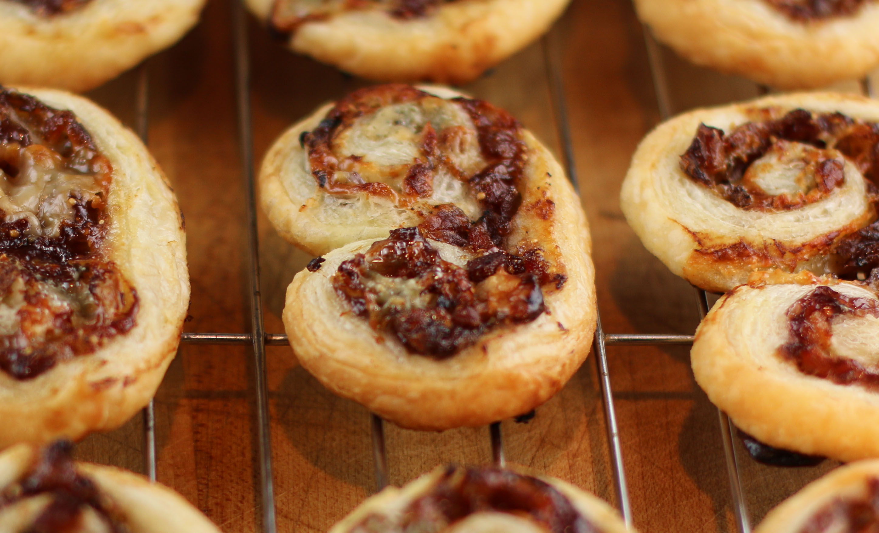 Fig Bacon and Blue Cheese Palmiers