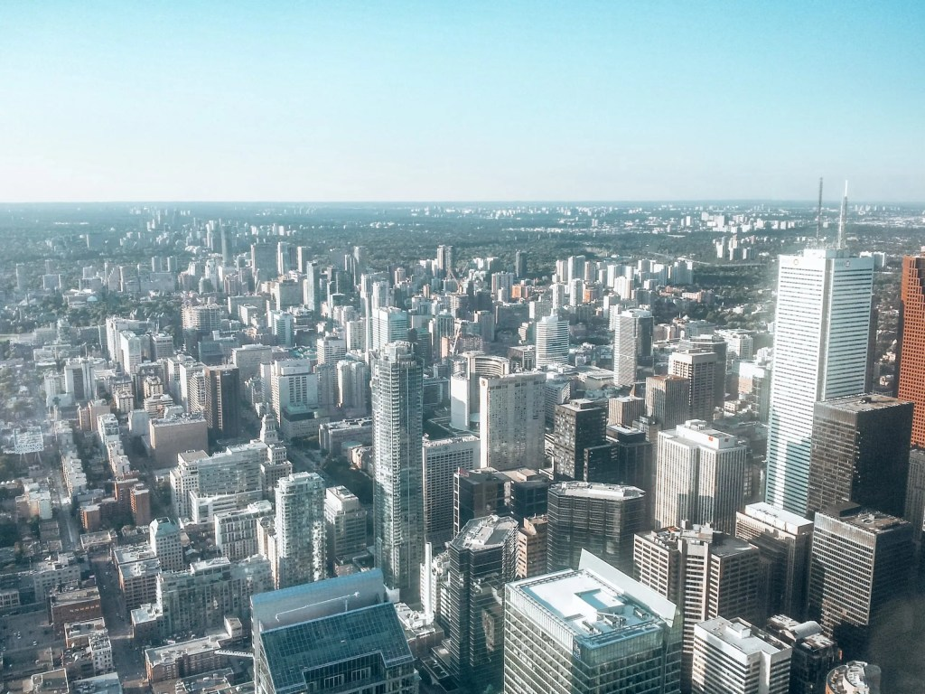Toronto seen from the observation deck of the CN Tower.