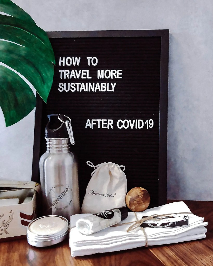 Assortment of sustainable travel products standing on countertop