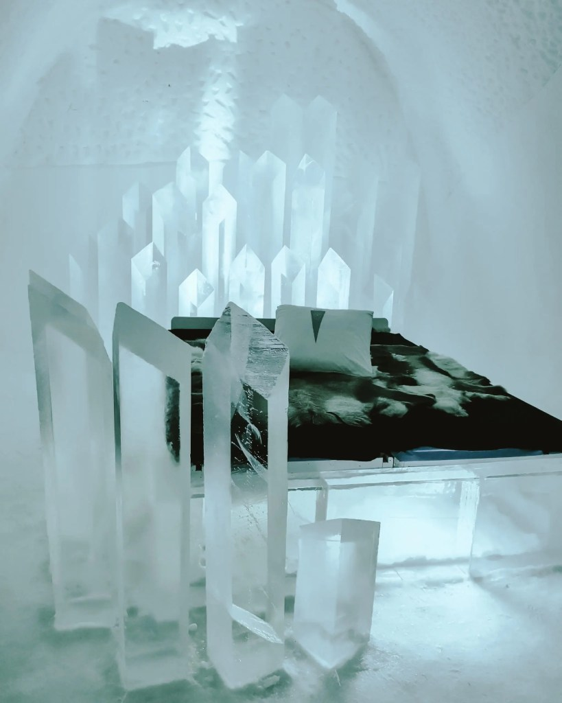 Cold room at the ice hotel in Sweden.