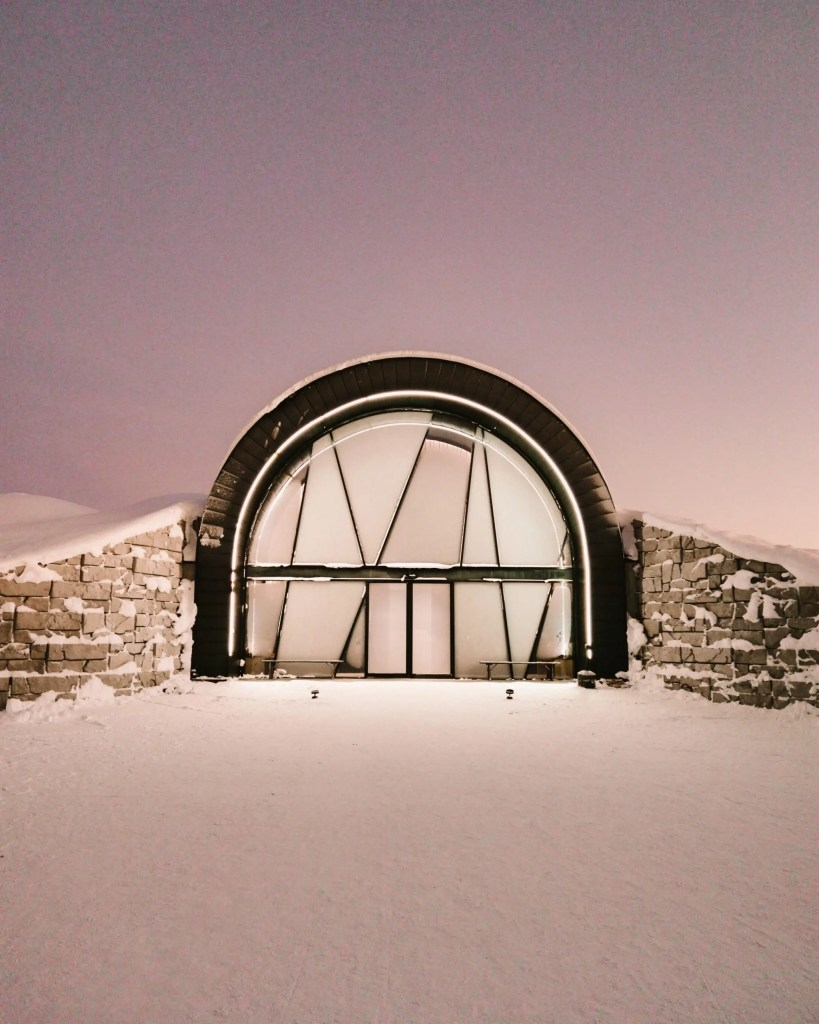 The entrance to the year round 365 area of the ice hotel in Sweden.